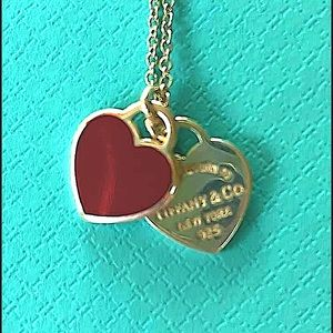 NWT Rare Tiffany Double Red Heart Necklace